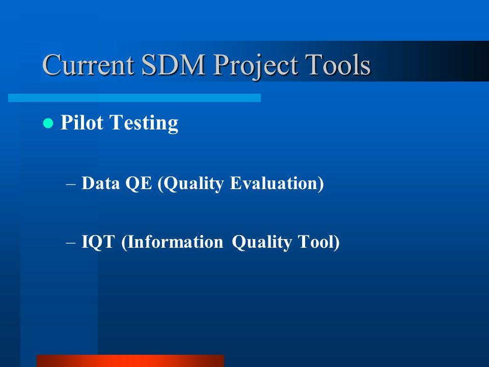 Current SDM Project Tools Pilot Testing –Data QE (Quality Evaluation) –IQT (Information Quality Tool)