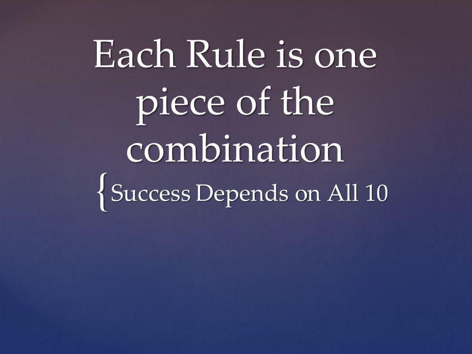 { Each Rule is one piece of the combination Success Depends on All 10