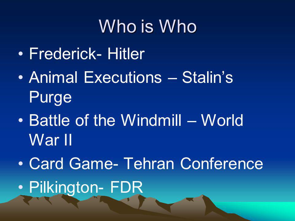 Who is Who Frederick- Hitler Animal Executions – Stalins Purge Battle of the Windmill – World War II Card Game- Tehran Conference Pilkington- FDR