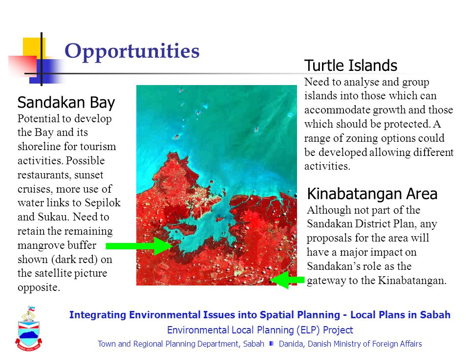 Integrating Environmental Issues into Spatial Planning - Local Plans in Sabah Environmental Local Planning (ELP) Project Town and Regional Planning Department, Sabah Danida, Danish Ministry of Foreign Affairs Sandakan Bay Potential to develop the Bay and its shoreline for tourism activities.