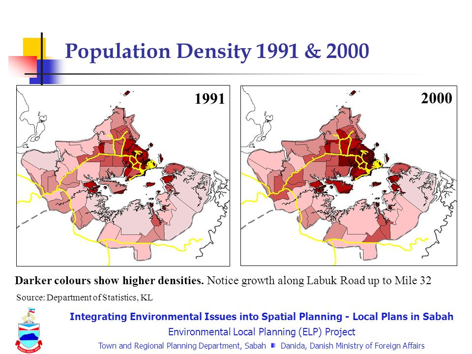Integrating Environmental Issues into Spatial Planning - Local Plans in Sabah Environmental Local Planning (ELP) Project Town and Regional Planning Department, Sabah Danida, Danish Ministry of Foreign Affairs Population Density 1991 & 2000 1991 2000 Darker colours show higher densities.