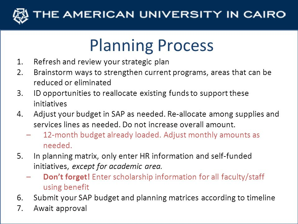 Planning Process 1.Refresh and review your strategic plan 2.Brainstorm ways to strengthen current programs, areas that can be reduced or eliminated 3.ID opportunities to reallocate existing funds to support these initiatives 4.Adjust your budget in SAP as needed.