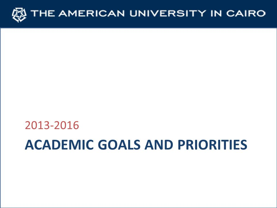 ACADEMIC GOALS AND PRIORITIES 2013-2016