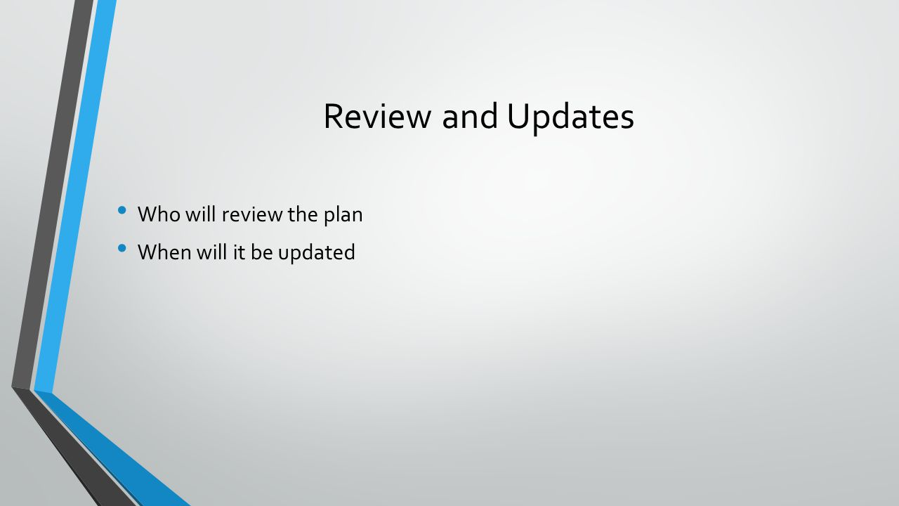 Review and Updates Who will review the plan When will it be updated