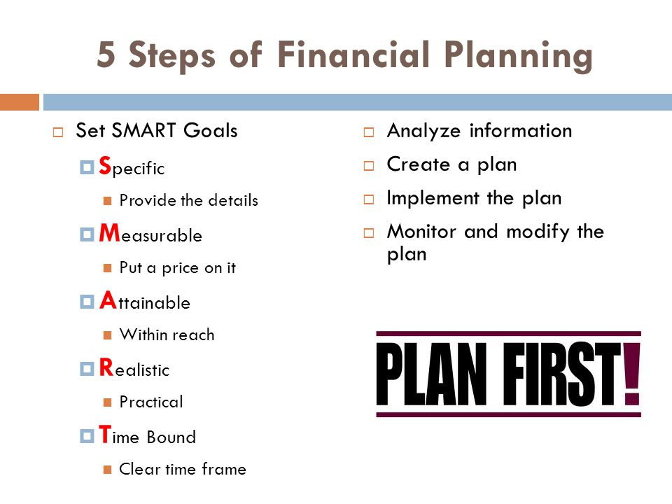 5 Steps of Financial Planning Set SMART Goals S pecific Provide the details M easurable Put a price on it A ttainable Within reach R ealistic Practical T ime Bound Clear time frame Analyze information Create a plan Implement the plan Monitor and modify the plan