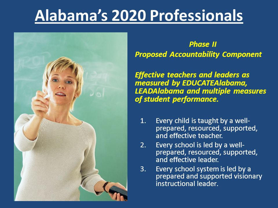 Alabamas 2020 Professionals Phase II Proposed Accountability Component Effective teachers and leaders as measured by EDUCATEAlabama, LEADAlabama and m