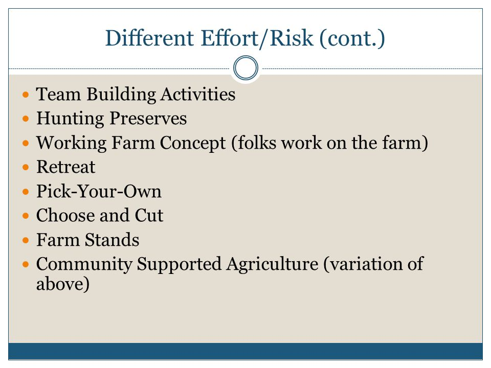 Different Effort/Risk (cont.) Team Building Activities Hunting Preserves Working Farm Concept (folks work on the farm) Retreat Pick-Your-Own Choose and Cut Farm Stands Community Supported Agriculture (variation of above)