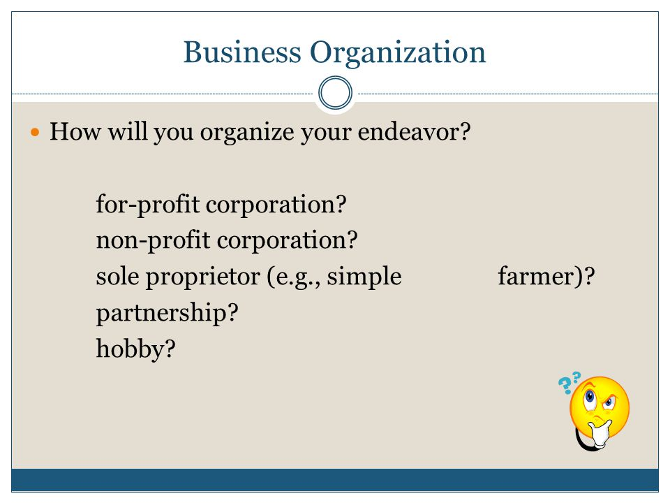 Business Organization How will you organize your endeavor.