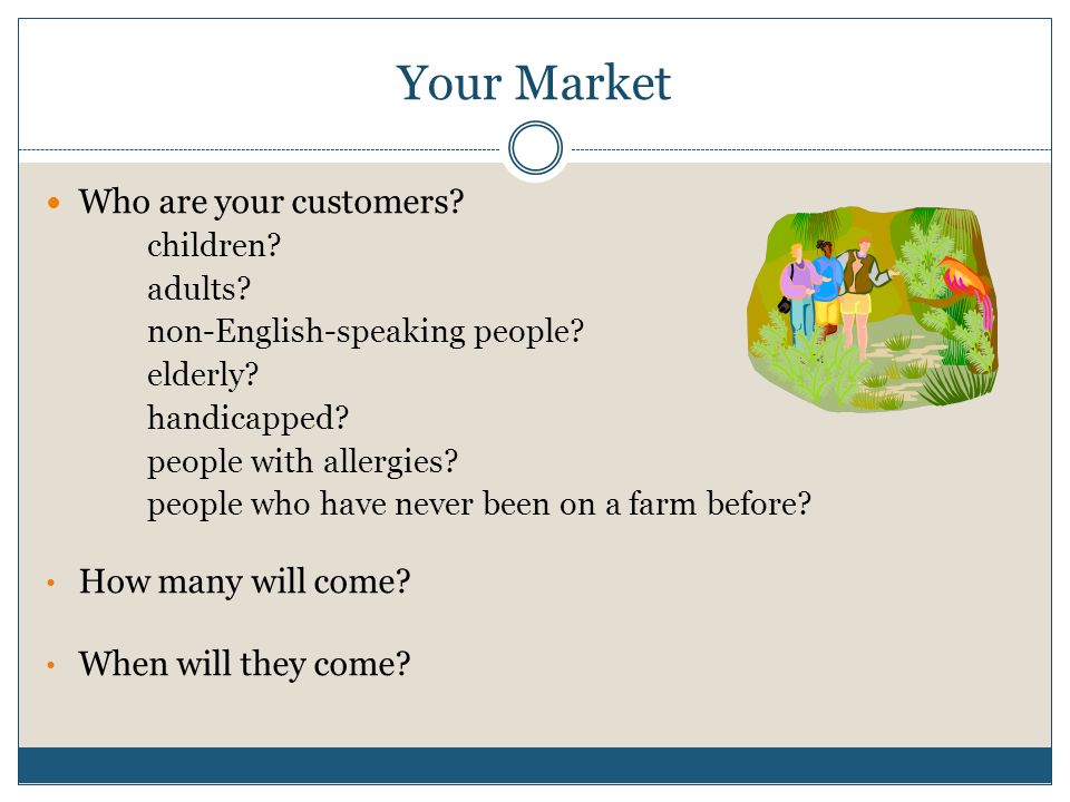 Your Market Who are your customers. children. adults.