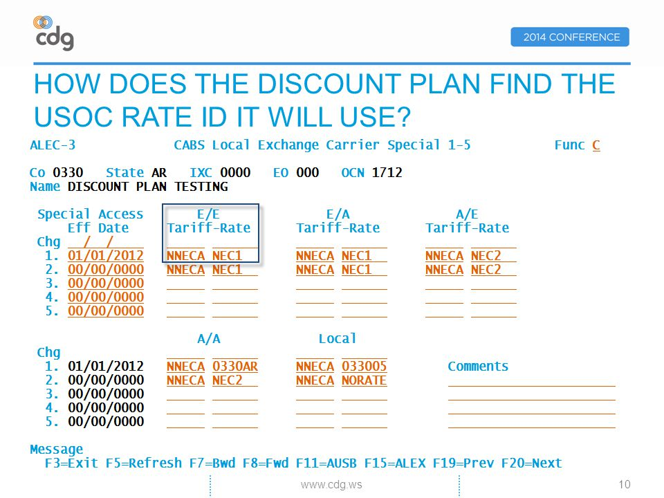 10 HOW DOES THE DISCOUNT PLAN FIND THE USOC RATE ID IT WILL USE