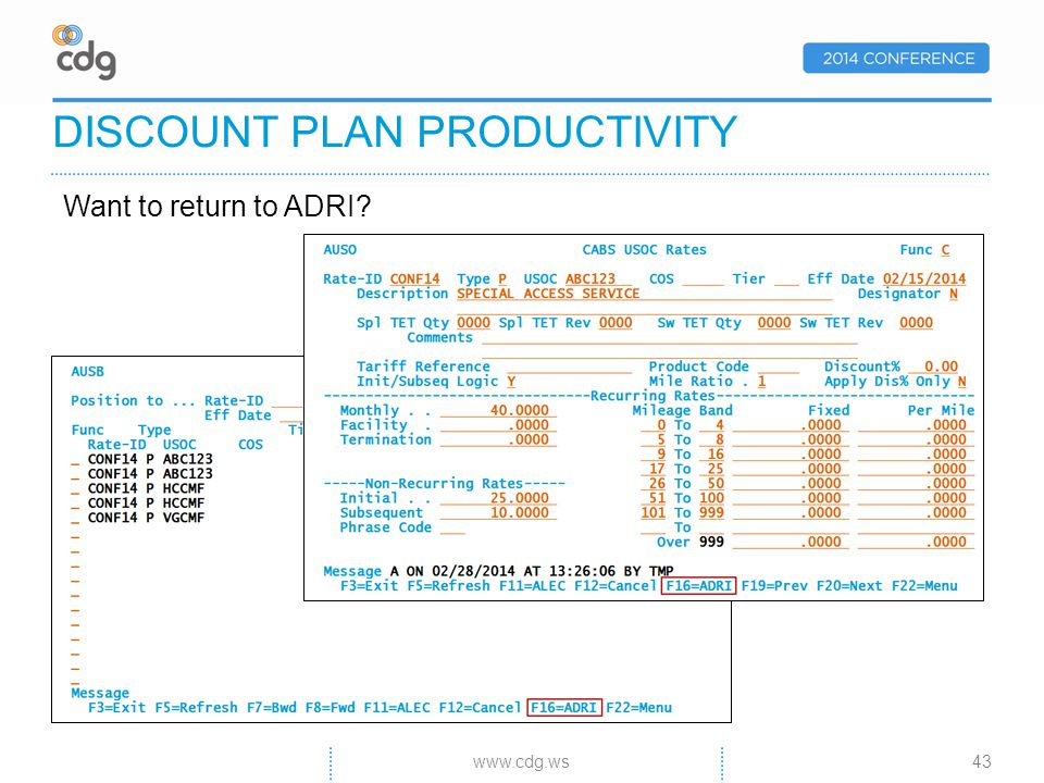 Want to return to ADRI DISCOUNT PLAN PRODUCTIVITY 43www.cdg.ws