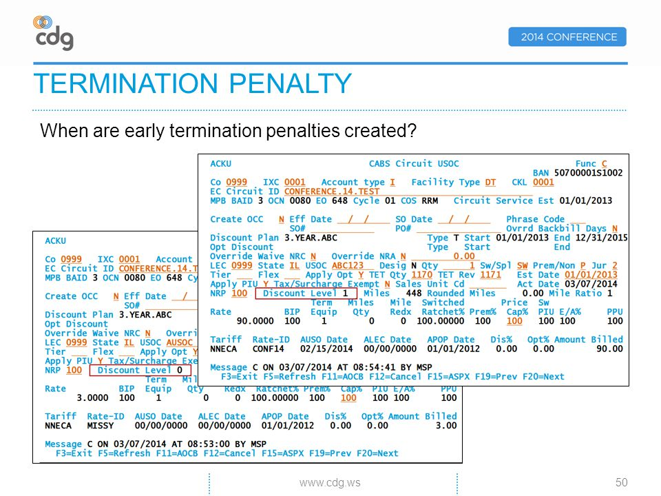 When are early termination penalties created TERMINATION PENALTY 50www.cdg.ws