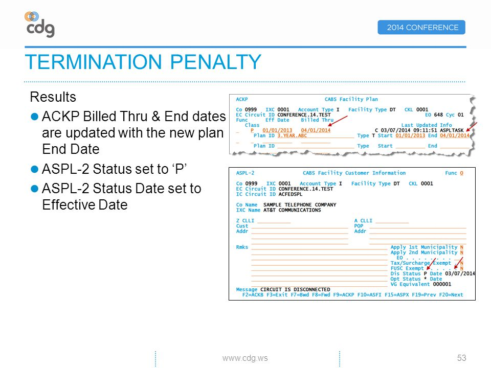 TERMINATION PENALTY Results ACKP Billed Thru & End dates are updated with the new plan End Date ASPL-2 Status set to P ASPL-2 Status Date set to Effective Date www.cdg.ws53