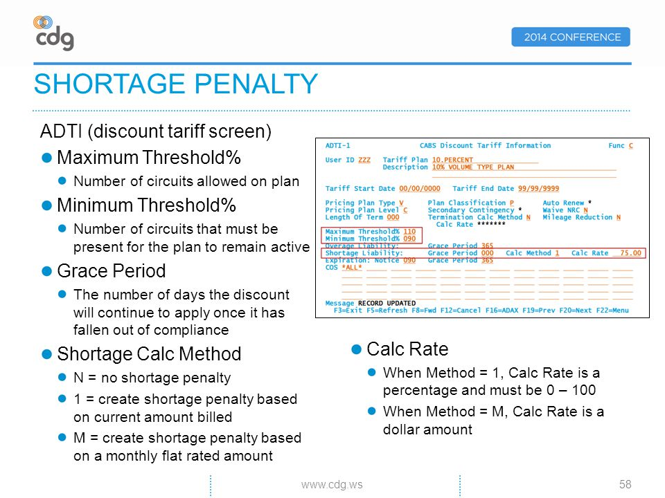 SHORTAGE PENALTY ADTI (discount tariff screen) Maximum Threshold% Number of circuits allowed on plan Minimum Threshold% Number of circuits that must be present for the plan to remain active Grace Period The number of days the discount will continue to apply once it has fallen out of compliance Shortage Calc Method N = no shortage penalty 1 = create shortage penalty based on current amount billed M = create shortage penalty based on a monthly flat rated amount www.cdg.ws58 Calc Rate When Method = 1, Calc Rate is a percentage and must be 0 – 100 When Method = M, Calc Rate is a dollar amount
