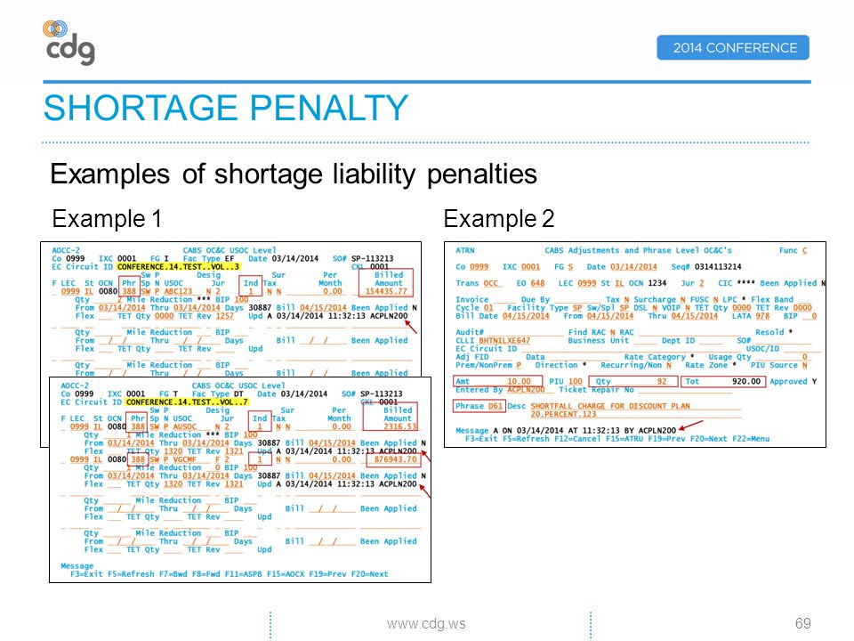 SHORTAGE PENALTY Example 1Example 2 www.cdg.ws69 Examples of shortage liability penalties