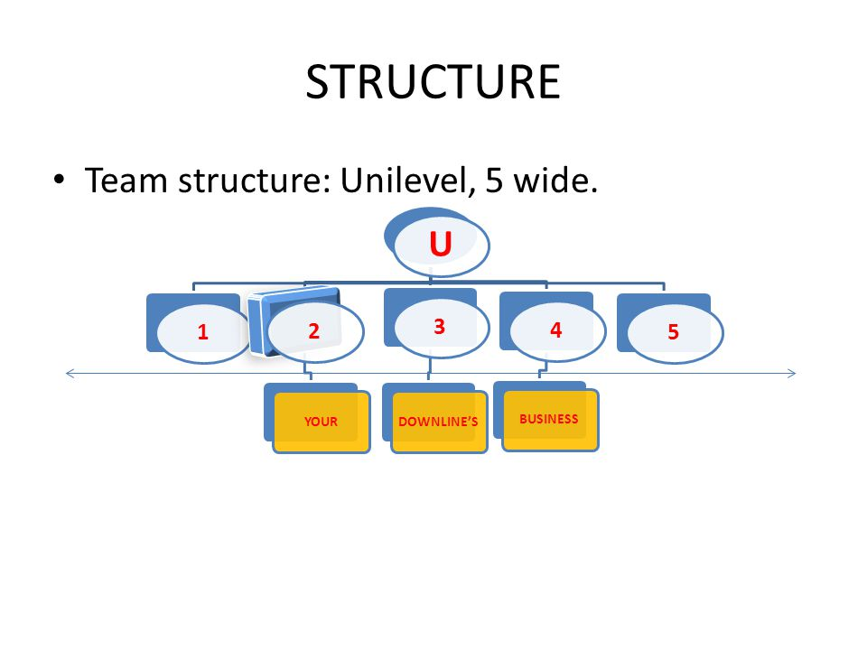 STRUCTURE Team structure: Unilevel, 5 wide. U 12 YOUR 3 DOWNLINES 4 BUSINESS 5