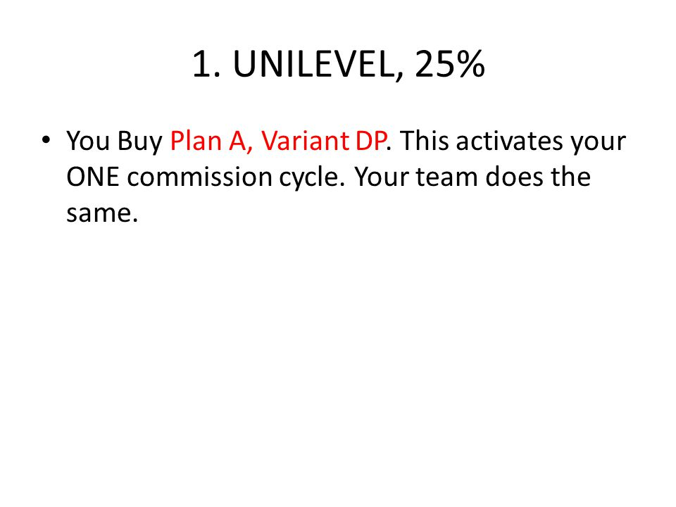 1. UNILEVEL, 25% You Buy Plan A, Variant DP. This activates your ONE commission cycle.