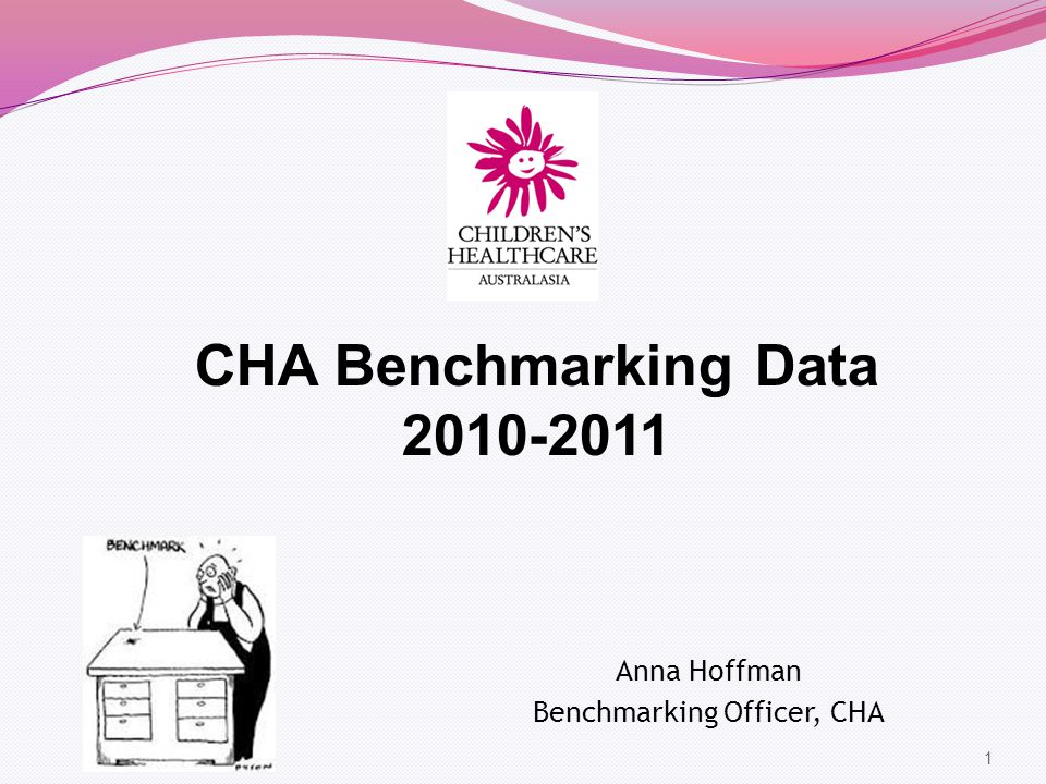 1 CHA Benchmarking Data 2010-2011 Anna Hoffman Benchmarking Officer, CHA