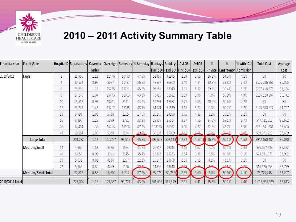 19 2010 – 2011 Activity Summary Table