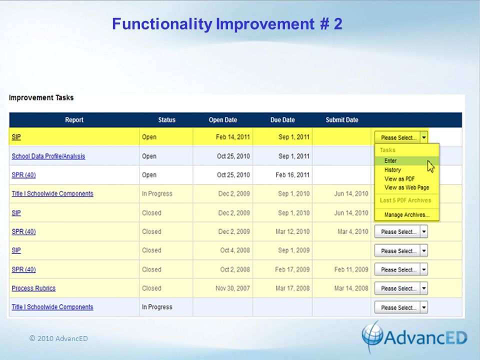 © 2010 AdvancED Functionality Improvement # 2