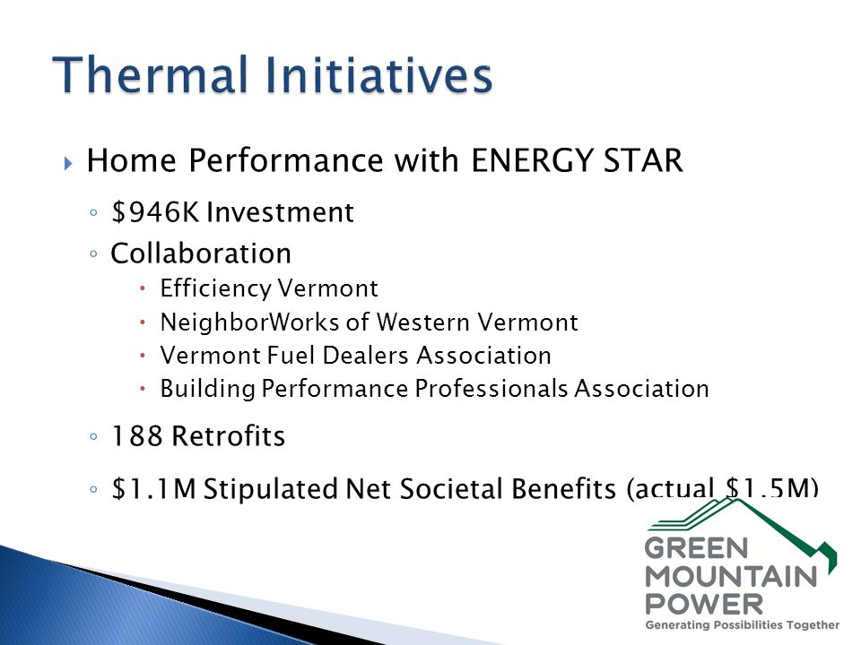 Home Performance with ENERGY STAR $946K Investment Collaboration Efficiency Vermont NeighborWorks of Western Vermont Vermont Fuel Dealers Association Building Performance Professionals Association 188 Retrofits $1.1M Stipulated Net Societal Benefits (actual $1.5M)
