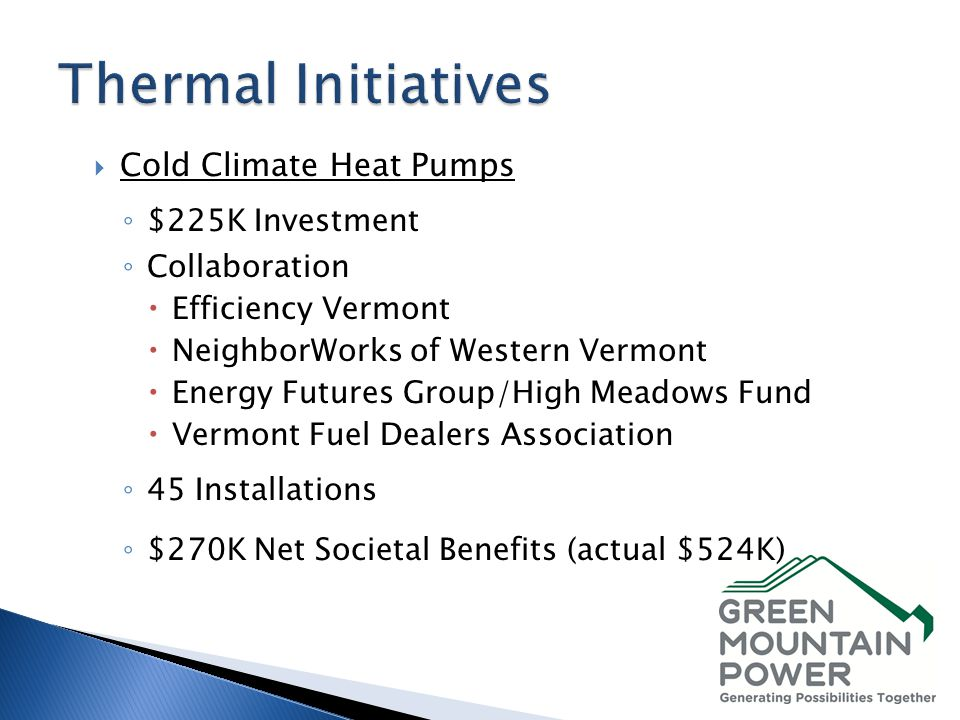 Cold Climate Heat Pumps $225K Investment Collaboration Efficiency Vermont NeighborWorks of Western Vermont Energy Futures Group/High Meadows Fund Verm