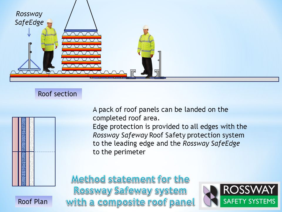 Rossway SafeEdge A pack of roof panels can be landed on the completed roof area. Edge protection is provided to all edges with the Rossway Safeway Roo