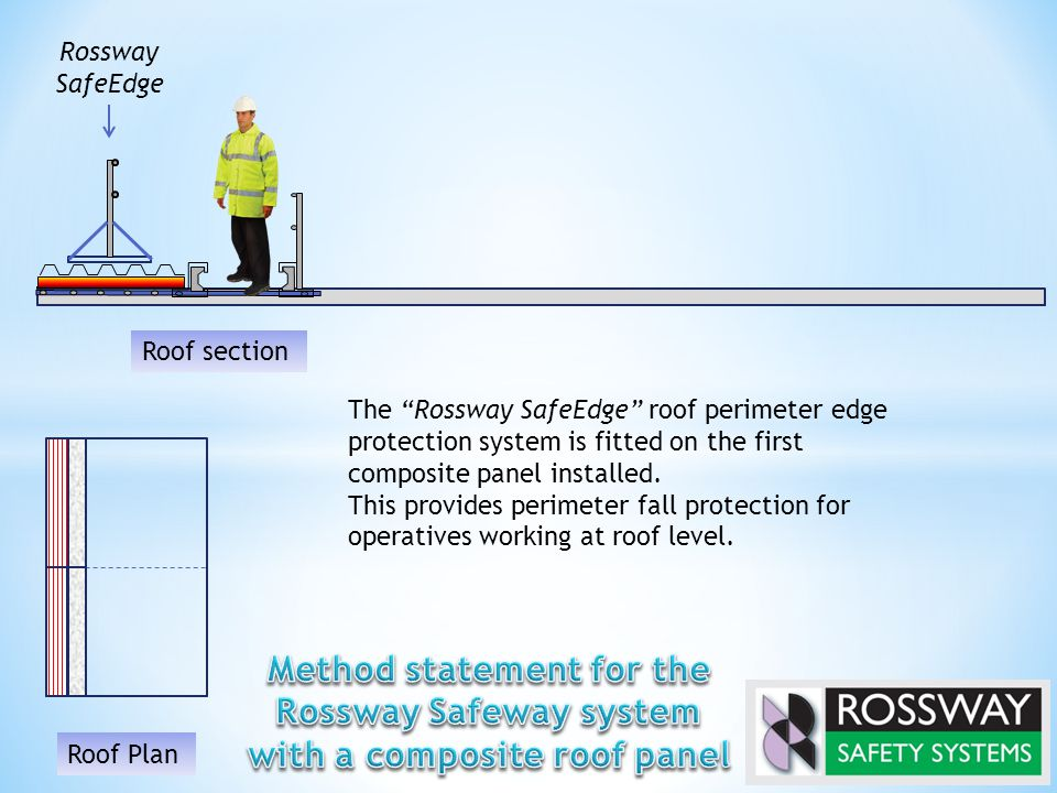 The Rossway SafeEdge roof perimeter edge protection system is fitted on the first composite panel installed.