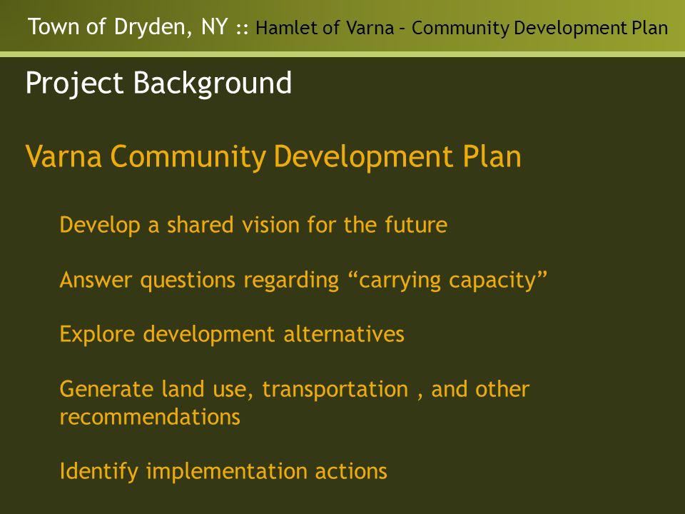 Town of Dryden, NY :: Hamlet of Varna – Community Development Plan Project Background Varna Community Development Plan Develop a shared vision for the