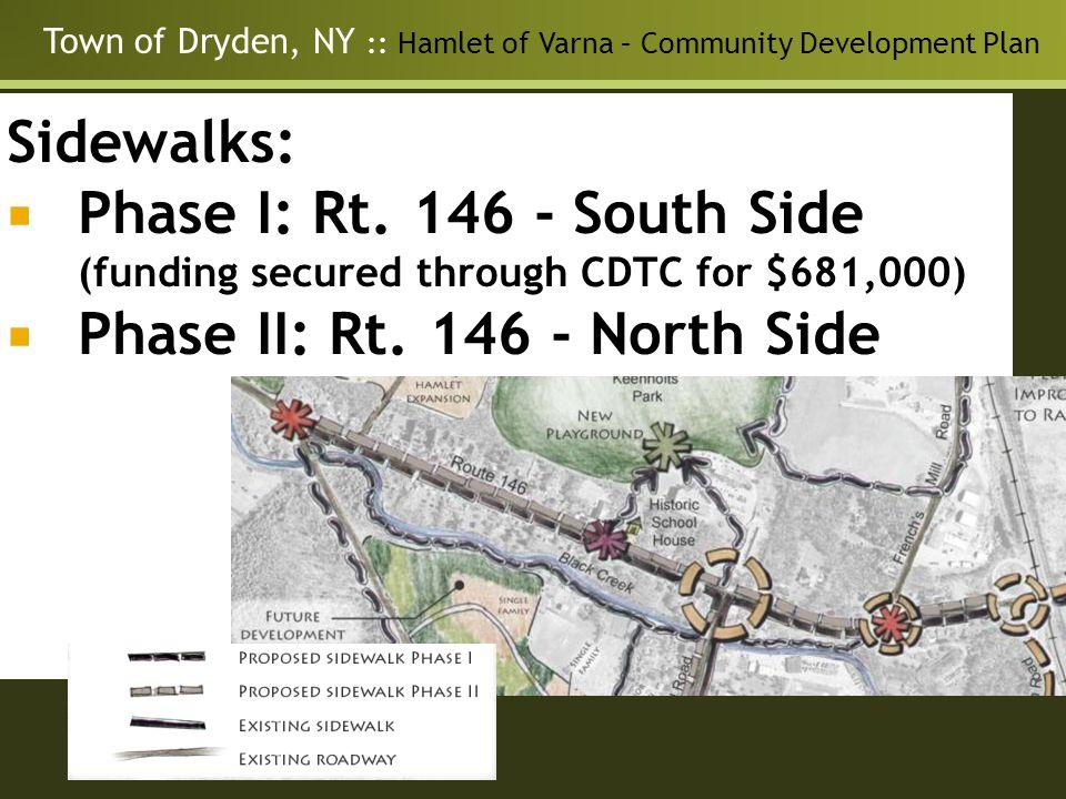 Town of Dryden, NY :: Hamlet of Varna – Community Development Plan Neighborhood Master Plan for the Guilderland Center Hamlet Transportation - Solutions for: Traffic speed and trucks Pedestrian environment Intersection Improvements Sidewalks: Phase I: Rt.