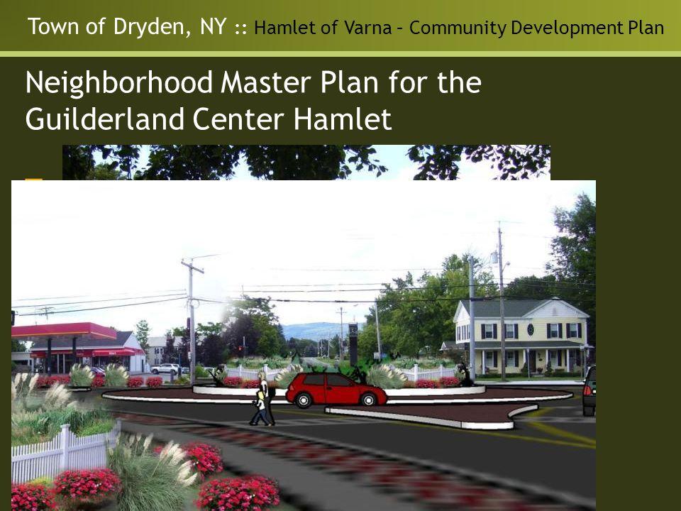 Town of Dryden, NY :: Hamlet of Varna – Community Development Plan Neighborhood Master Plan for the Guilderland Center Hamlet Transportation - Solutions for: Traffic speed and trucks Pedestrian environment Intersection Improvements