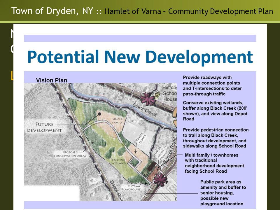 Town of Dryden, NY :: Hamlet of Varna – Community Development Plan Neighborhood Master Plan for the Guilderland Center Hamlet Land Use - Opportunities for: Parks and Recreation Pedestrian and bike connections Potential Future development