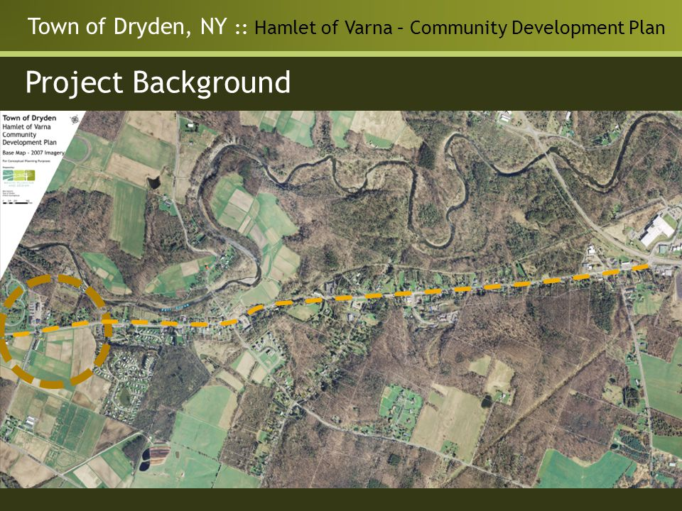 Town of Dryden, NY :: Hamlet of Varna – Community Development Plan Project Background Varna Community Development Plan Develop a shared vision for the future Answer questions regarding carrying capacity Explore development alternatives Generate land use, transportation, and other recommendations Identify implementation actions