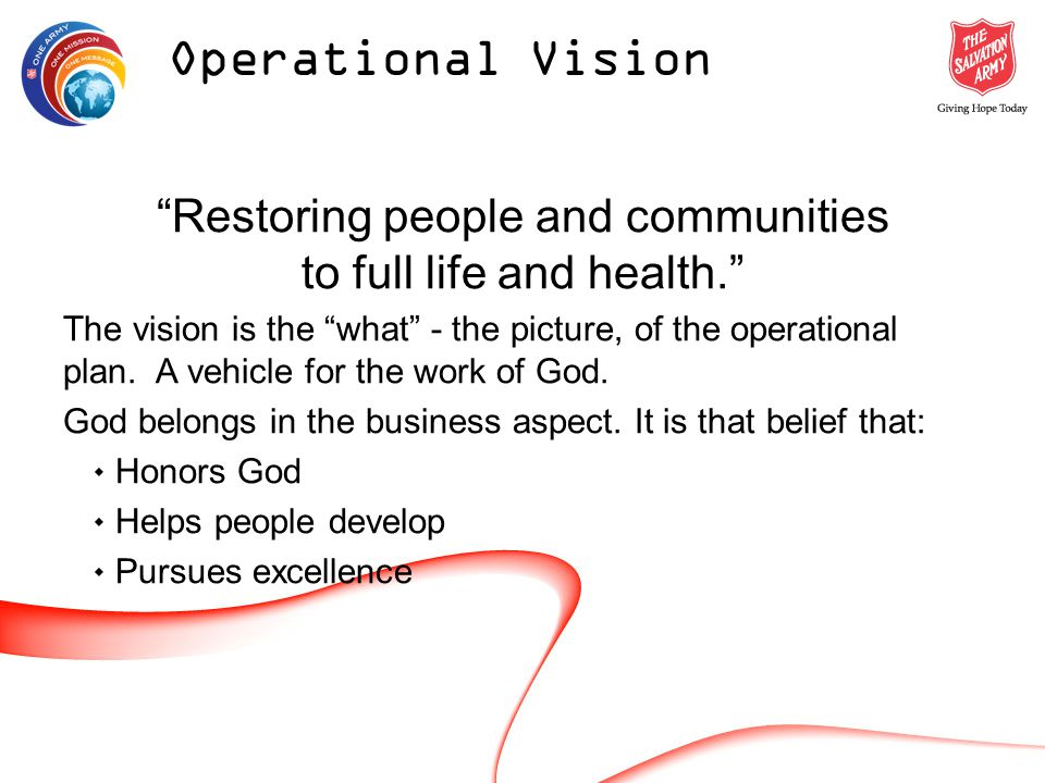 Restoring people and communities to full life and health.