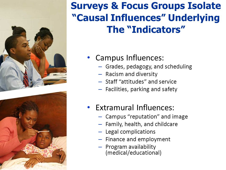 Surveys & Focus Groups Isolate Causal Influences Underlying The Indicators Campus Influences: – Grades, pedagogy, and scheduling – Racism and diversity – Staff attitudes and service – Facilities, parking and safety Extramural Influences: – Campus reputation and image – Family, health, and childcare – Legal complications – Finance and employment – Program availability (medical/educational)