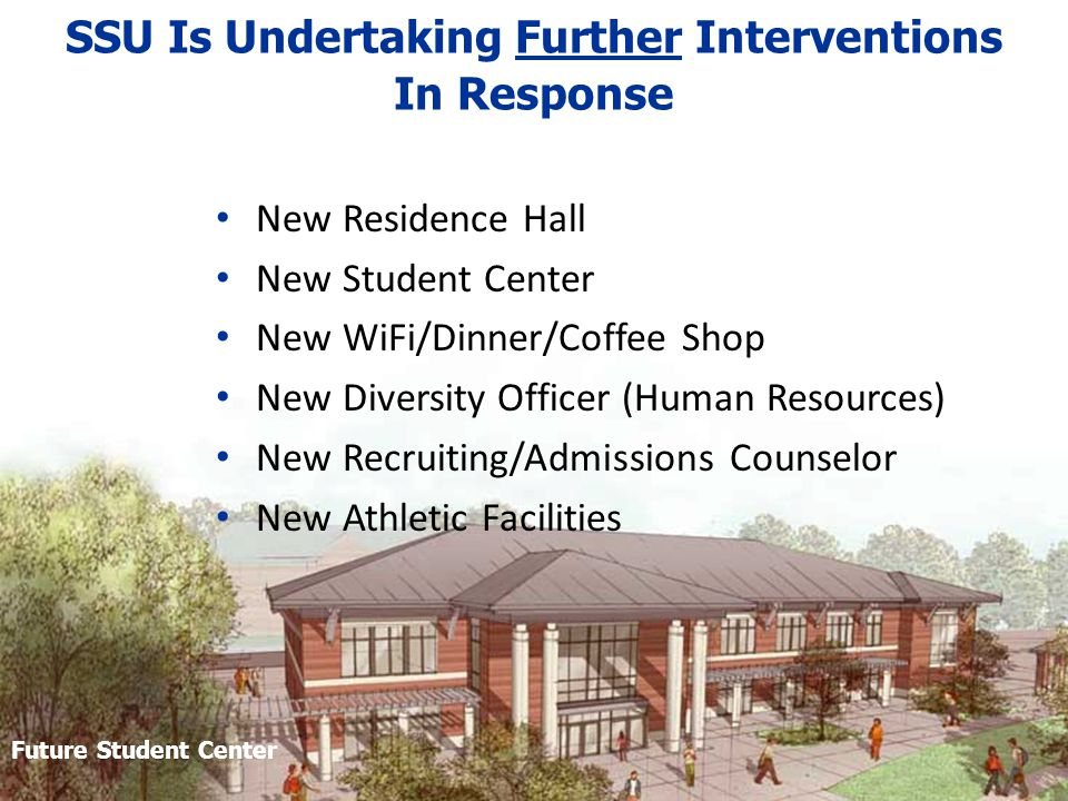 SSU Is Undertaking Further Interventions In Response New Residence Hall New Student Center New WiFi/Dinner/Coffee Shop New Diversity Officer (Human Resources) New Recruiting/Admissions Counselor New Athletic Facilities Student Future Student Center
