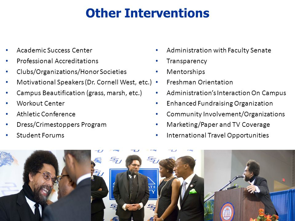 Other Interventions Academic Success Center Professional Accreditations Clubs/Organizations/Honor Societies Motivational Speakers (Dr.