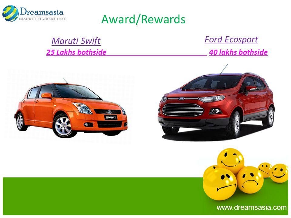 Award/Rewards 25 Lakhs bothside 40 lakhs bothside Maruti Swift Ford Ecosport www.dreamsasia.com