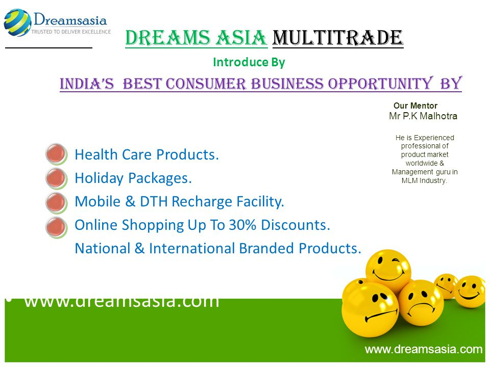 Dreams Asia MULTITRADE Introduce By Indias Best Consumer Business Opportunity by Health Care Products.
