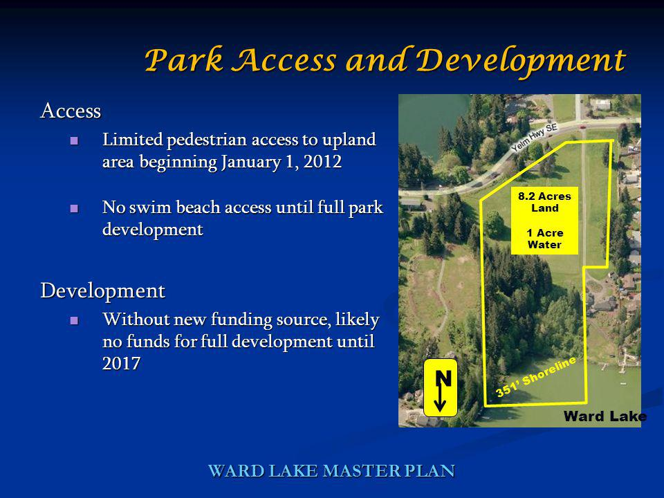 Access Limited pedestrian access to upland area beginning January 1, 2012 Limited pedestrian access to upland area beginning January 1, 2012 No swim b