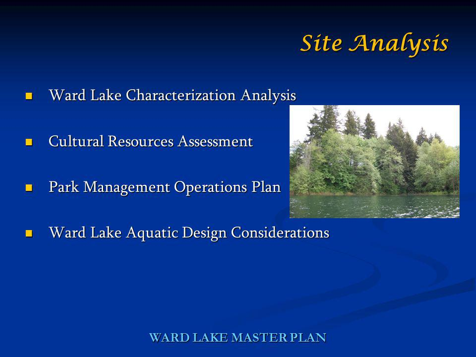 WARD LAKE MASTER PLAN Ward Lake Characterization Analysis Ward Lake Characterization Analysis Cultural Resources Assessment Cultural Resources Assessment Park Management Operations Plan Park Management Operations Plan Ward Lake Aquatic Design Considerations Ward Lake Aquatic Design Considerations Site Analysis