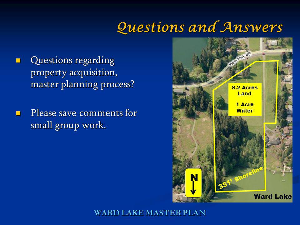 WARD LAKE MASTER PLAN Questions regarding property acquisition, master planning process? Questions regarding property acquisition, master planning pro