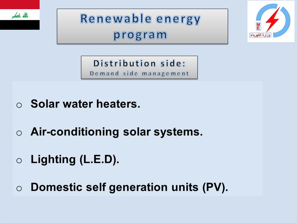 o Solar water heaters. o Air-conditioning solar systems. o Lighting (L.E.D). o Domestic self generation units (PV).