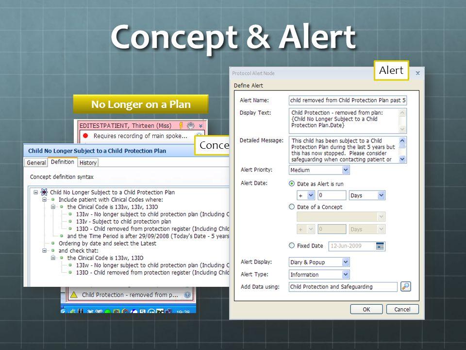 Concept & Alert No Longer on a Plan ConceptAlert