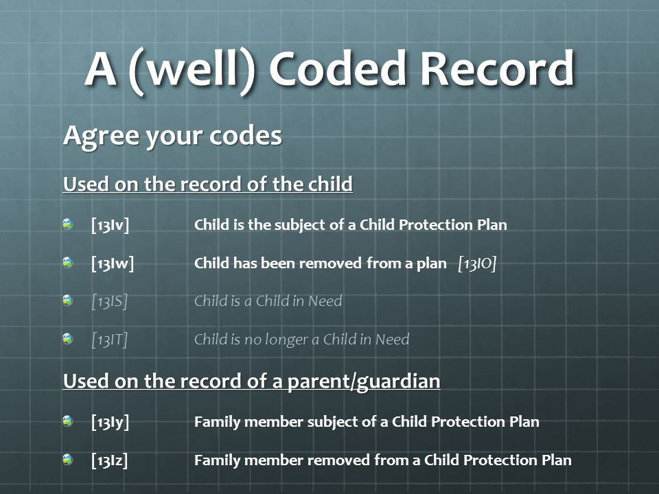 A (well) Coded Record Agree your codes Used on the record of the child [13Iv]Child is the subject of a Child Protection Plan [13Iw]Child has been removed from a plan [13IO] [13IS]Child is a Child in Need [13IT]Child is no longer a Child in Need Used on the record of a parent/guardian [13Iy]Family member subject of a Child Protection Plan [13Iz]Family member removed from a Child Protection Plan