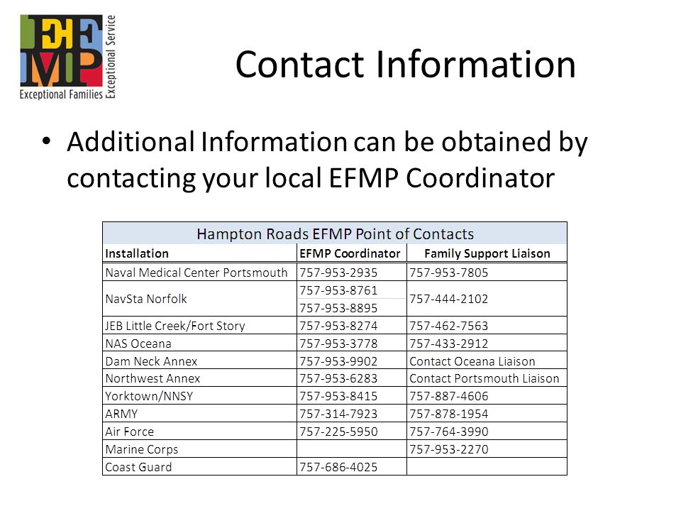 Contact Information Additional Information can be obtained by contacting your local EFMP Coordinator