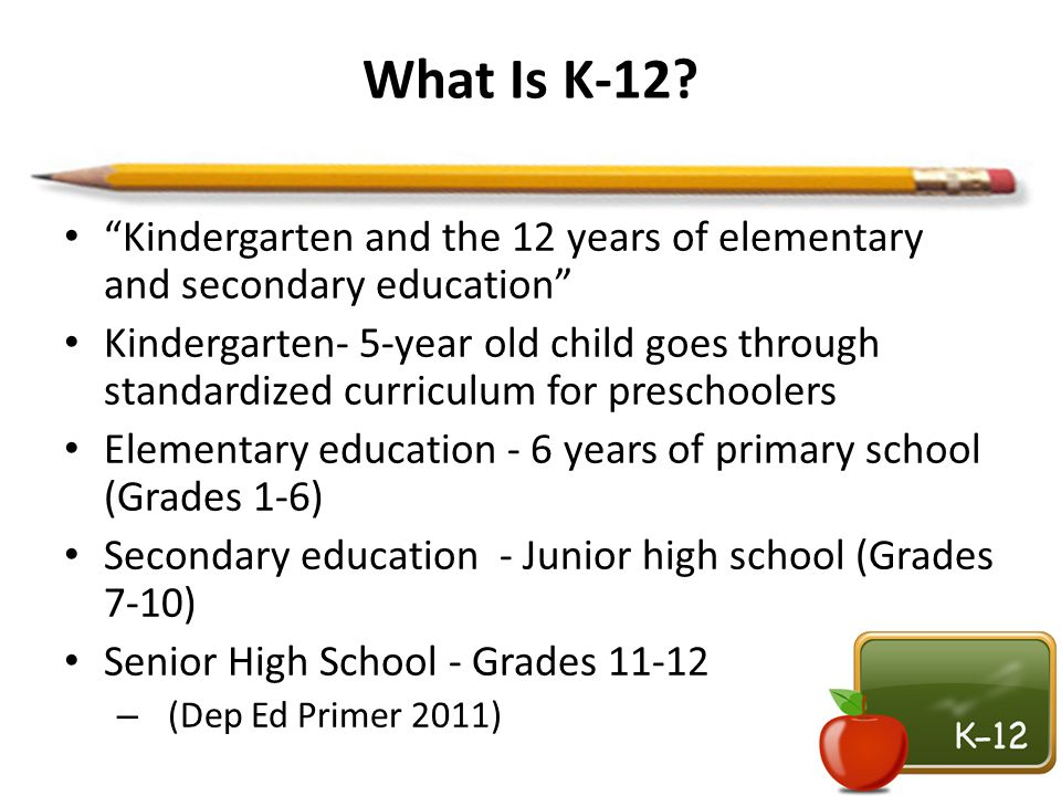 What Is K-12? Kindergarten and the 12 years of elementary and secondary education Kindergarten- 5-year old child goes through standardized curriculum