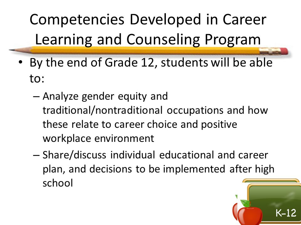 Competencies Developed in Career Learning and Counseling Program By the end of Grade 12, students will be able to: – Analyze gender equity and traditi