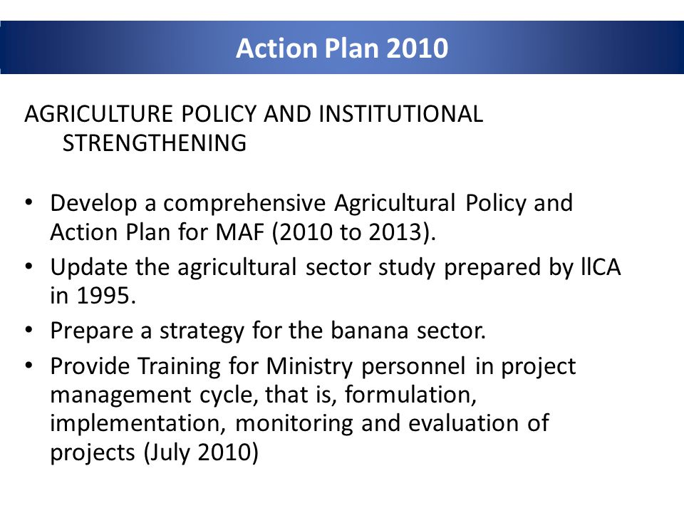 Action Plan 2010 AGRICULTURE POLICY AND INSTITUTIONAL STRENGTHENING Develop a comprehensive Agricultural Policy and Action Plan for MAF (2010 to 2013).