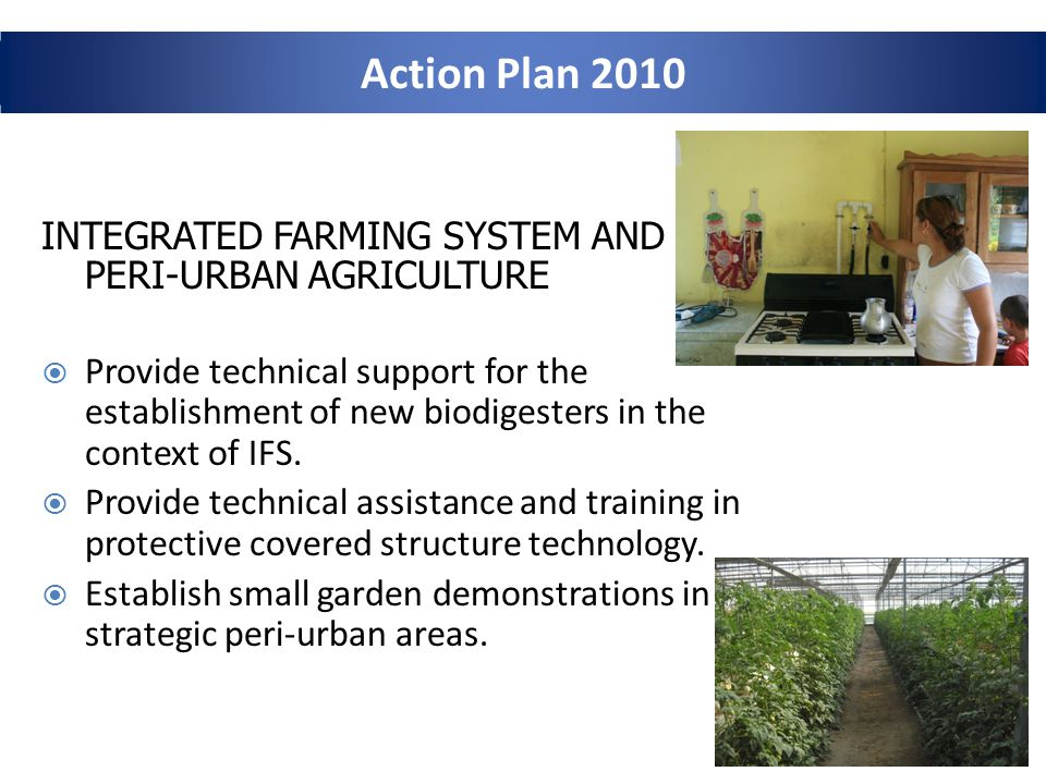Action Plan 2010 INTEGRATED FARMING SYSTEM AND PERI-URBAN AGRICULTURE Provide technical support for the establishment of new biodigesters in the context of IFS.